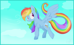 Rainbow Dash Flying by Balloons504