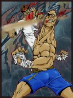 Ryu and Sagat by brewsterart