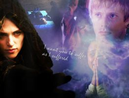 Morgana, Arthur, Gwen and Merlin by MagicalPictureMaker