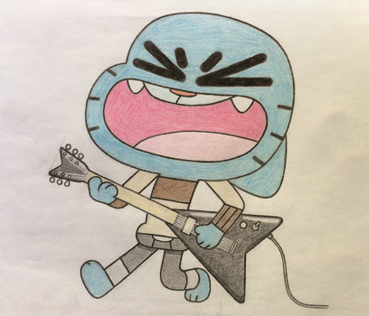 Gumball on Electric Guitar by lceBlu