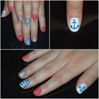 Navy Nails by TralaTitina