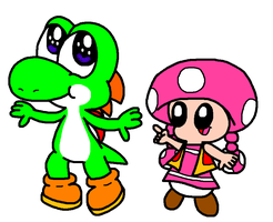Yoshi And Toadette Dancing by Bomberdrawer