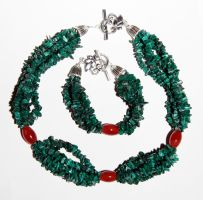 Malachite and Carnelian Set by starglo21