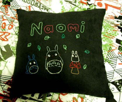 Totoro pillow by jellyandpeaches