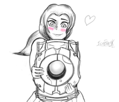 Chell and Wheatley - Sketch by IceBreak23