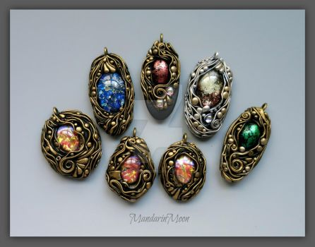 Poseidon's Treasure Pendants by MandarinMoon