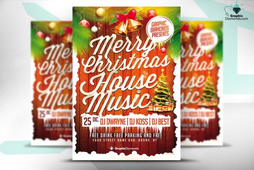 Christmas House Music Flyer by GraphicDiamonds