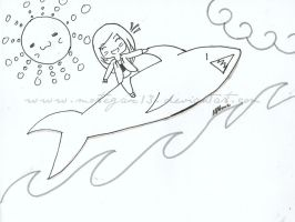 Steph AND LARRY THE TALKING SHARK by Mortegax13