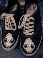 Cat skull shoes by Potatobadger