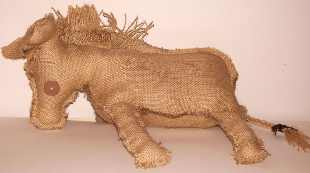 Burlap Donkey Plushy by CreaturesChild