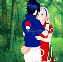 SasuSaku by e-nat colored by UchihasasukeMS