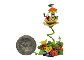 HALLOWEEN PUMPKIN CANDY CORN FAIRY TOWER HOUSE by WEE-OOAK-MINIATURES