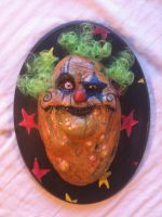 green hair creepy clown plaque by UglyBabyEater