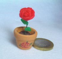 Tiny Rose in Flowerpot by lenneheartly