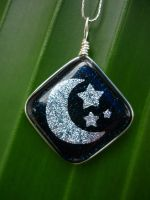 Midnight Blue Sky Fused Glass by FusedElegance