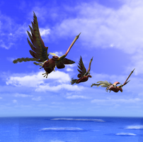 Gold-Tails in Flight by The-Port-of-Riches