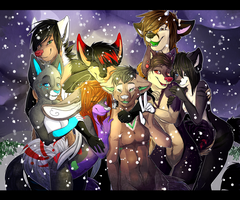 Group up for a picture! by coffaefox
