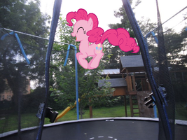 Pinkie's Jumping on my Trampoline by Eli-J-Brony
