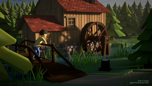 Water mill at sunrise (LowPoly) by pat2494