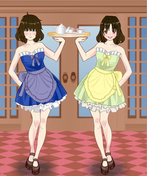 Chara and Frisk as maids by SepticSam99