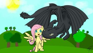 Fluttershy and Toothless .:LS:. by MrKyuubi