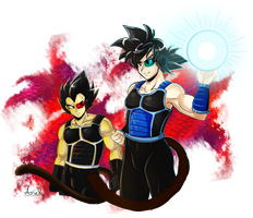 Veg and Kaka in Saiyajin Armor by X-xArielx-X