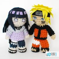 Hinata and Naruto set - Crochet Amigurumi Dolls by CyanRoseCreations