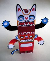 Totem Tyson Paper Toy by creaturekebab