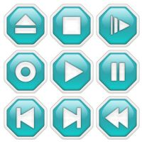 Media Player Icons - AquaGreen by datamouse