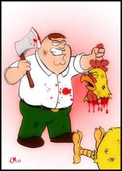 Peter Griffin Kills Chicken by Chuckcamo