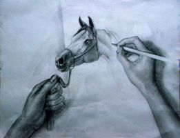 eh? hands and horse by Esmemi-Luniculaire
