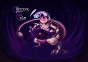 Mewtwo and Mew by UmbreoNoctie