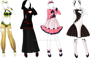 4 Styled Outfit Adoptable Bunch - Open by Tropic-Sea