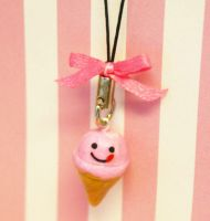 Kawaii Ice Cream Cell Phone Charm by jbphillips