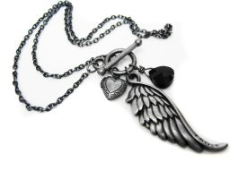 Angel Wing Locket Necklace by pila12903