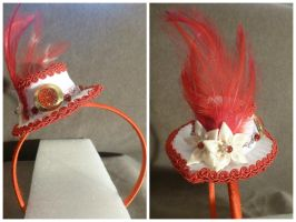 White + Red Mini Hat Head Band Fascinator by AbsolutelyFascinated