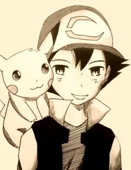 Ash and Pikachu (20th Anniversary tribute) by TruiArts