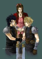 Cloud, Zack and Aeris by galazy