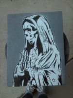 La Santa Muerte Stencil Canvas by MissFord66