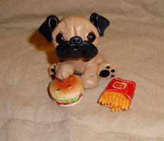 Pug with Hamburger by ErinsK9Collectibles