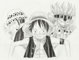 Kid, Law and Luffy by RyuuOrigins