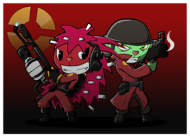 HTF2- Pyro and Soldier by BasilLoon