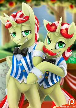 Flim Flam brothers - Serie of pony twins by Ashley-Arctic-Fox