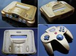 custom Zelda Nintendo 64 gold flake finish by Zoki64
