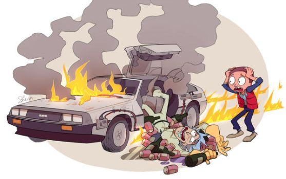 Rick and Morty x Back to the Future by Shira-hedgie