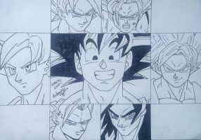 ALL GOKU PHASES (LINEART) by Arturfg
