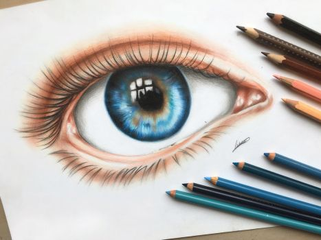 An Eye- Colored Pencil Drawing by Polaara