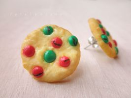 christmas sugar cookie earring posts by FatalPotato