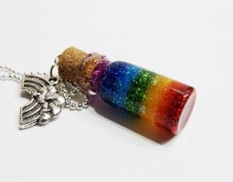Rainbow Bottle Pendent by 2littleKisses