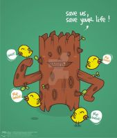 the tree and the tweet gang by NOF-artherapy